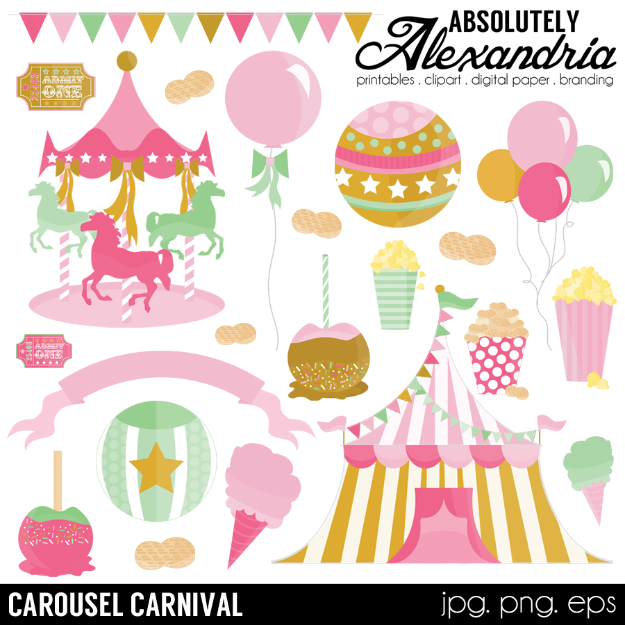 Carousel Carnival Digital Clipart Graphics.