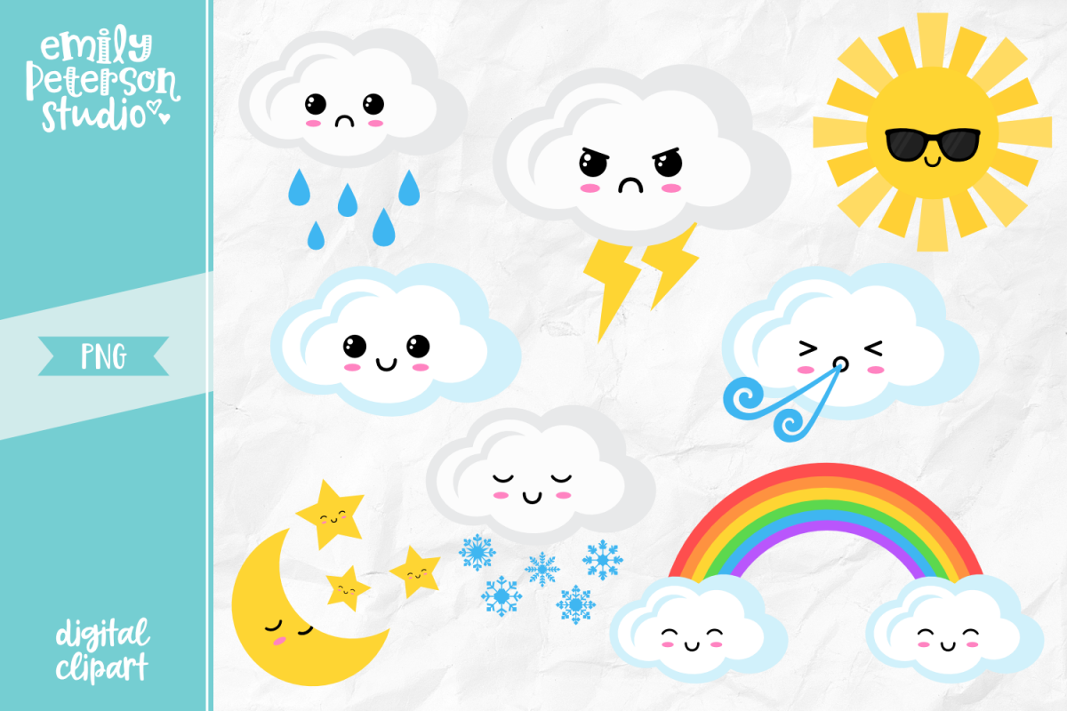 Kawaii Weather Clipart Illustration PNG.