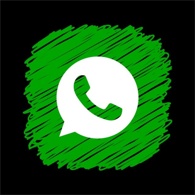 Whatsapp Scribble Square Icon, Whatsapp Icon, Whatsapp Logo.