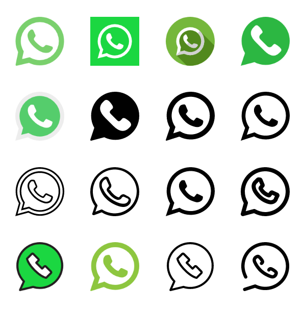 40 WhatsApp icons vector free download.