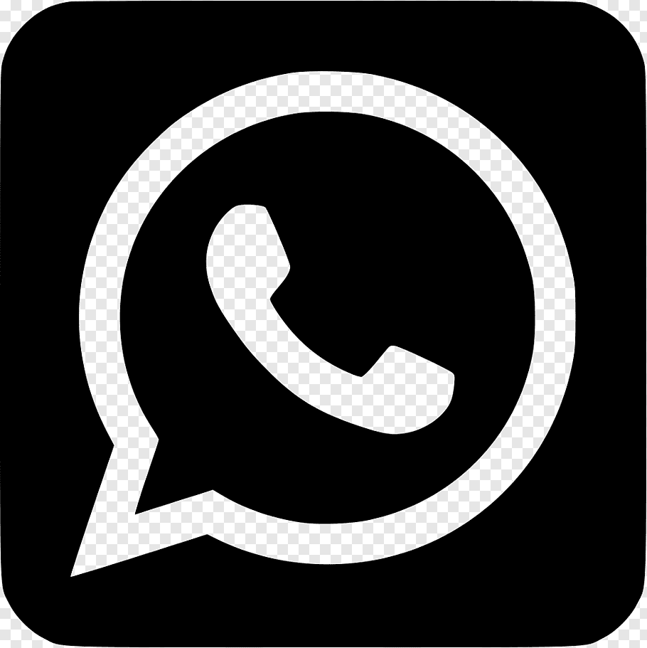Black and white Whatsapp logo, WhatsApp Social media.