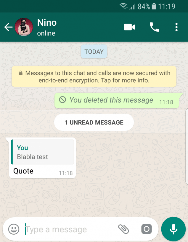 It's Not Possible to Delete Quoted WhatsApp Messages for Some Reason.