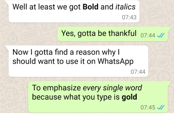 Now, users can highlight text in bold, italics on WhatsApp.