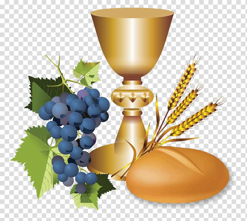 Chalice, wheat, and grapes illustration, Eucharist First.