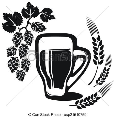 Stock Illustrations of beer glass with wheat ear.