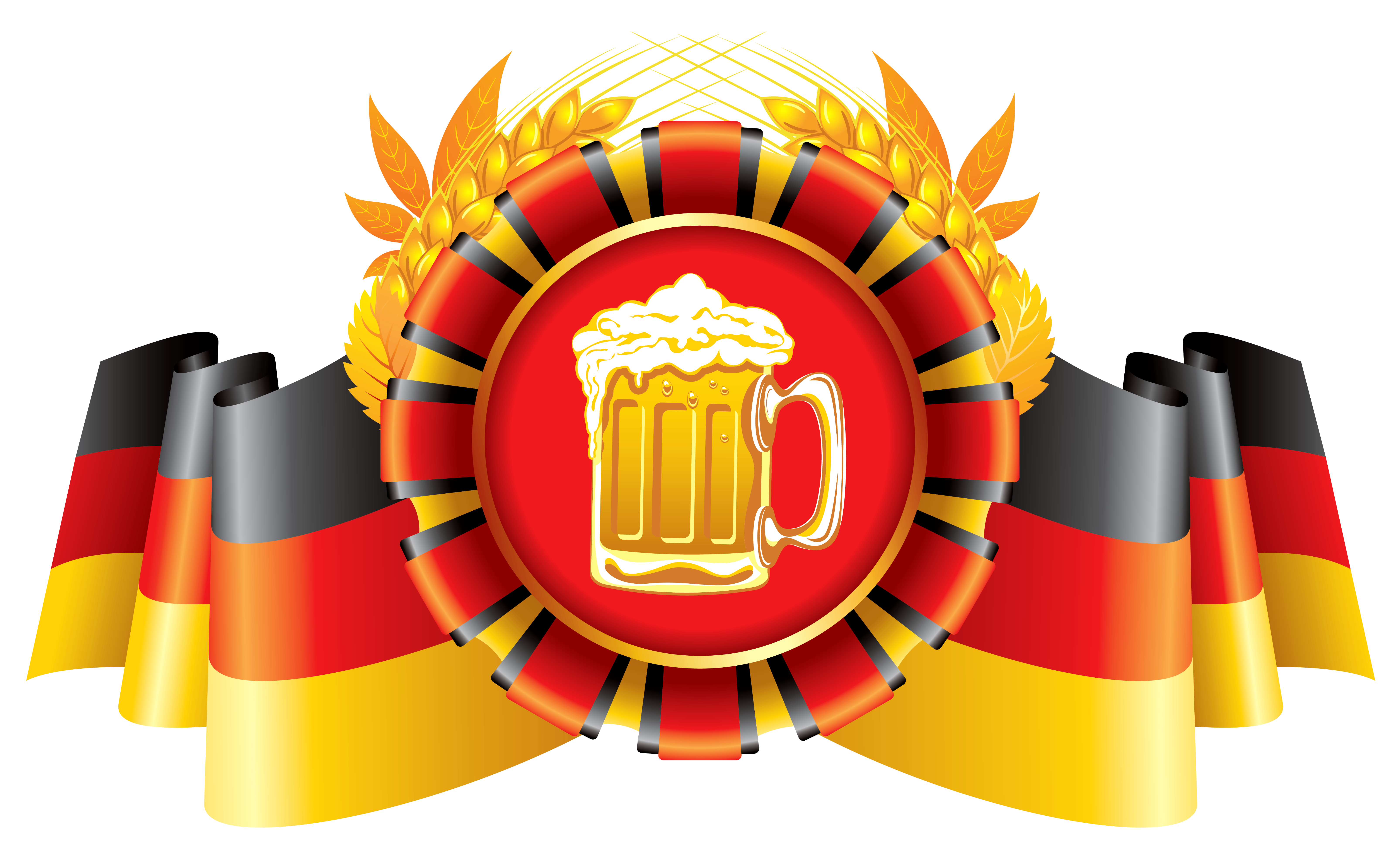 Oktoberfest Decor German Flag with Wheat and Beer PNG Image.