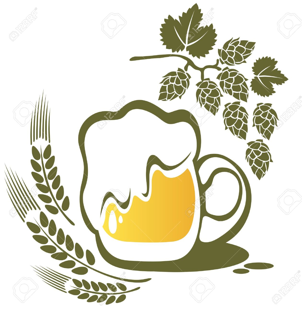 Beer Mug And Wheat Ear Isolated On A White Background. Royalty.