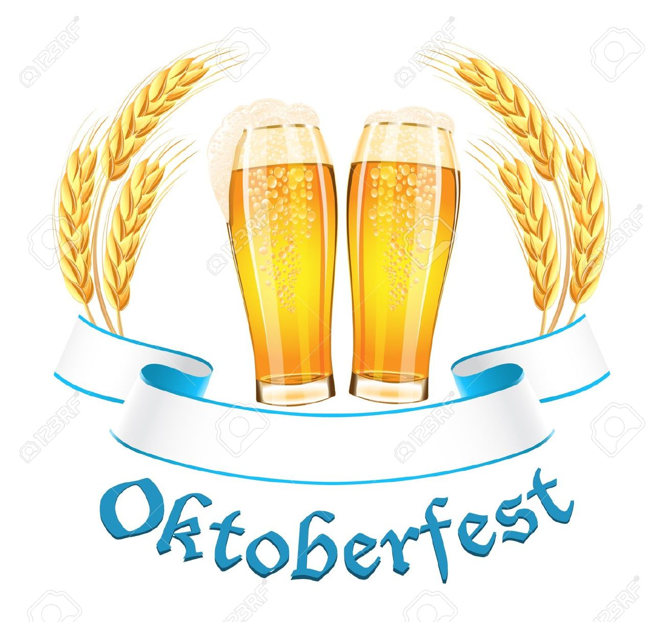 Oktoberfest Banner With Two Beer Glass And Wheat Ears Royalty Free.