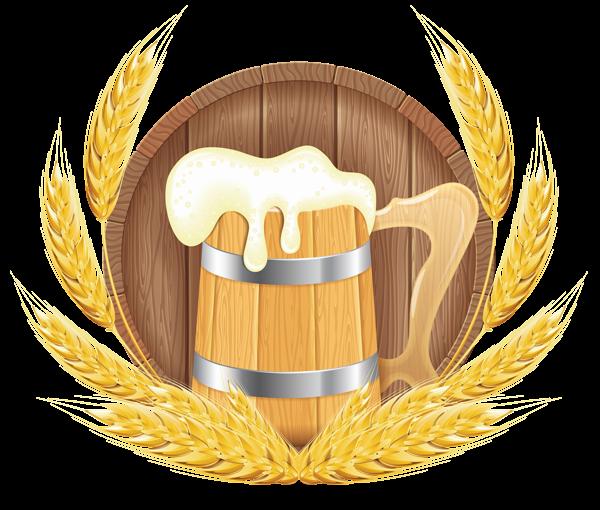 Oktoberfest Beer Barrel Mug and Wheat PNG Clipart Image.