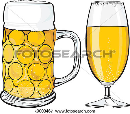 Clip Art of beer mug and glass k9003467.