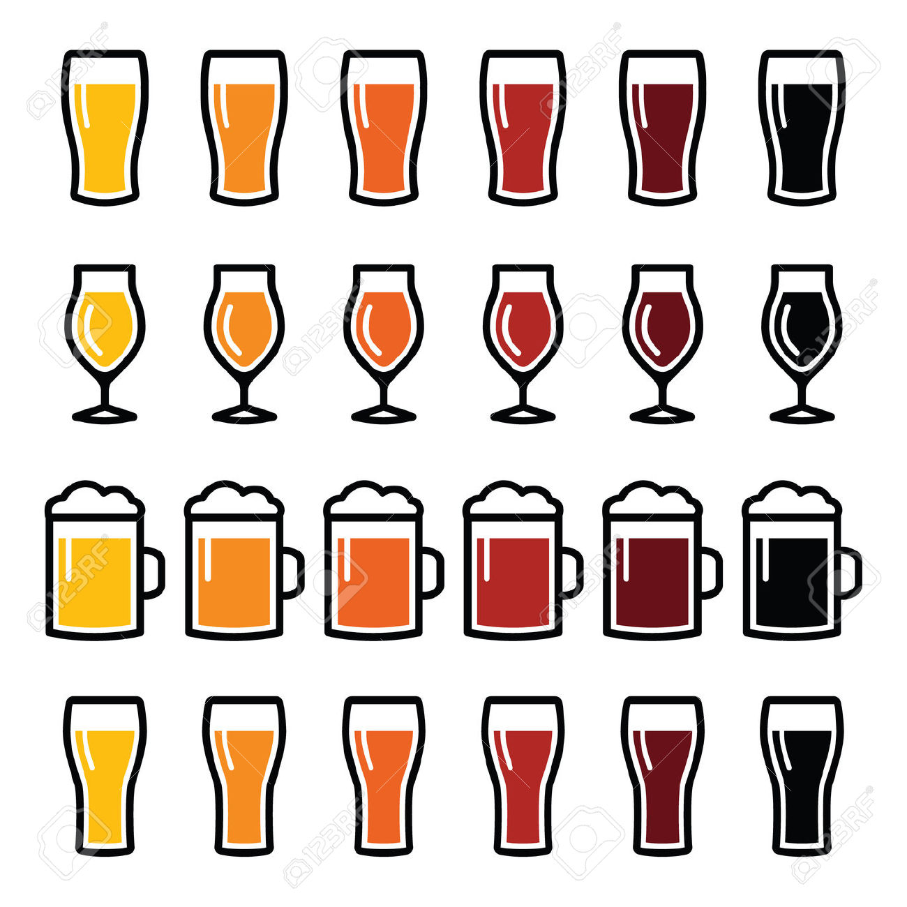 Beer Glasses Different Types Icons.