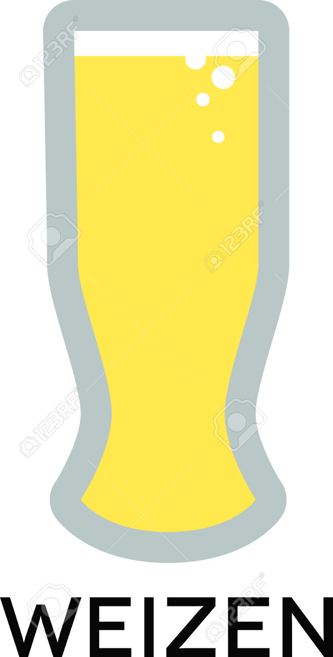 Use This Weizen Beer Glass For Your Wheat Beer. Royalty Free.