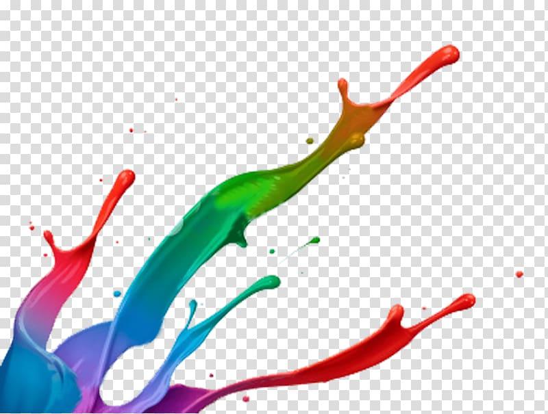 Multicolored paints illustration, Paint Splatter Footer.