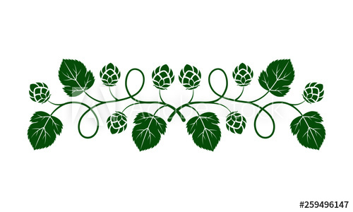 Vector illustration. Green outline (contour) of crossed hop.