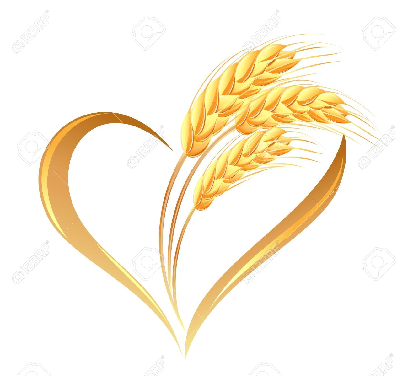 Abstract Wheat Ears Icon With Heart Element Royalty Free Cliparts.