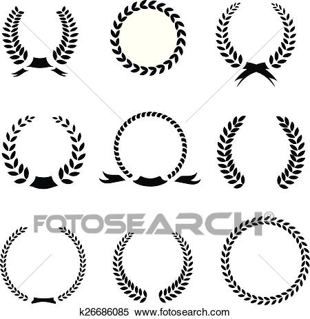 Set of black and white silhouette circular laurel foliate wheat wreaths  depicting an award achievement heraldry nobility the classics vector.