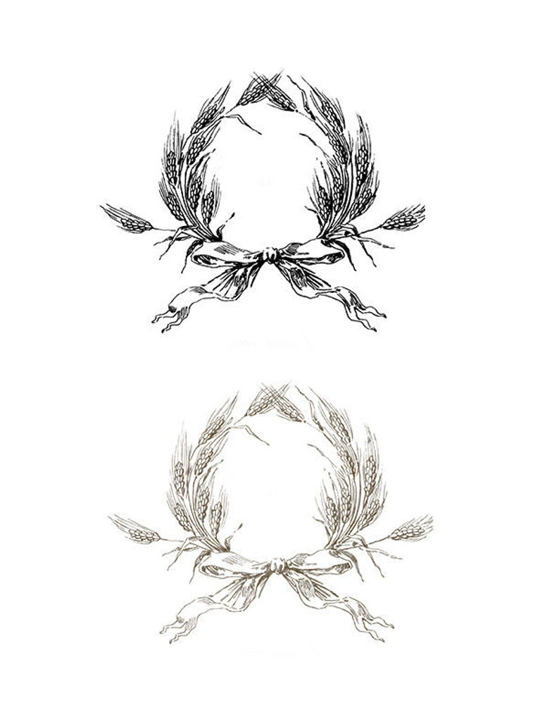 Vintage Wheat Wreath Frame with Bow, Clipart Wreath.