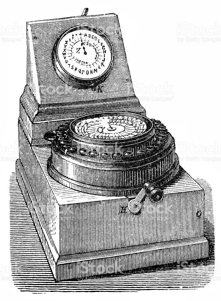 Wheatstone Automated Telegraph Network Equipment stock vector art.
