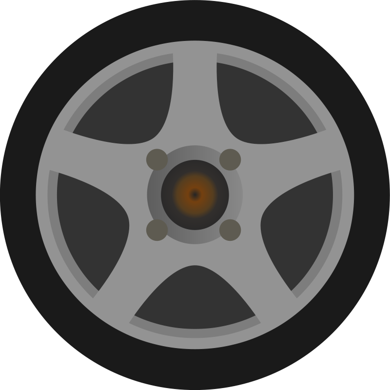 Free Clipart: Simple Car Wheel/Tire Side View.