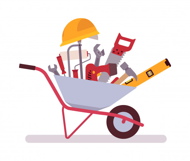 Wheelbarrow full of tools Vector.