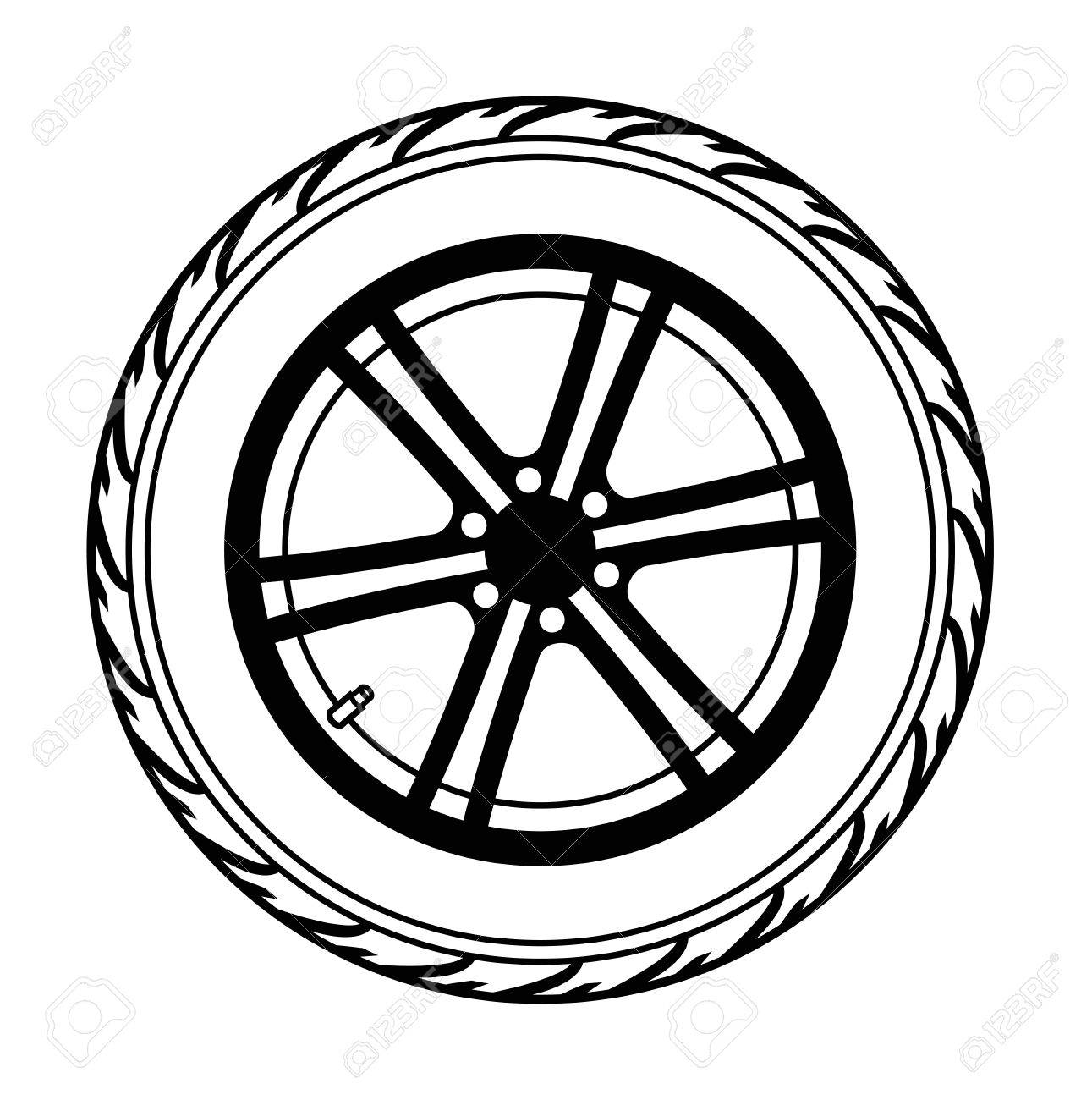 Black And White Clipart Wheel.