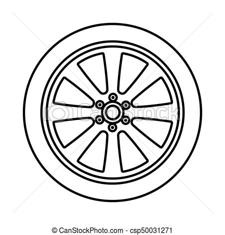 Car wheel black color icon ..