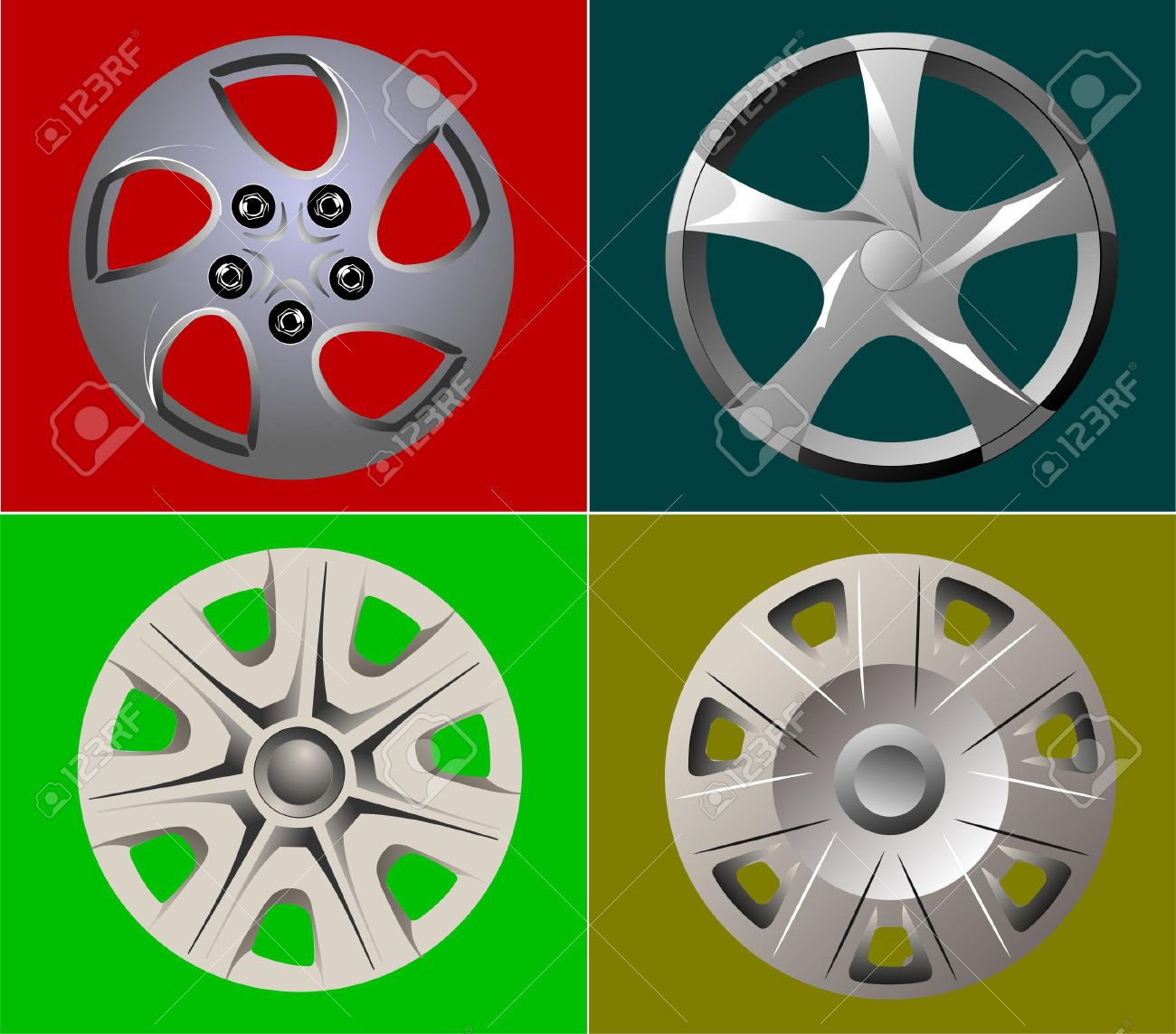 Decorative Car Wheel Covers. Plate. Vector Illustration Royalty.