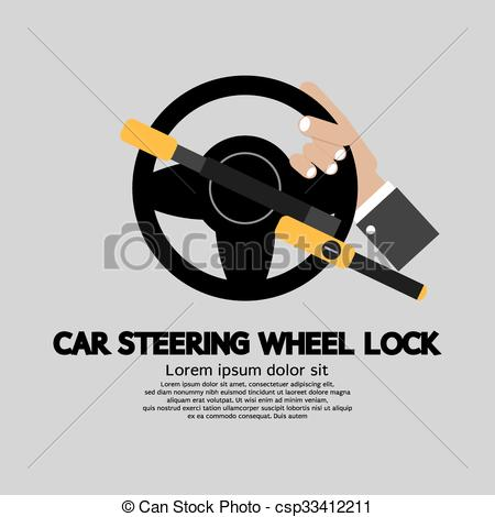 Vector Clip Art of Car Steering Wheel Lock..