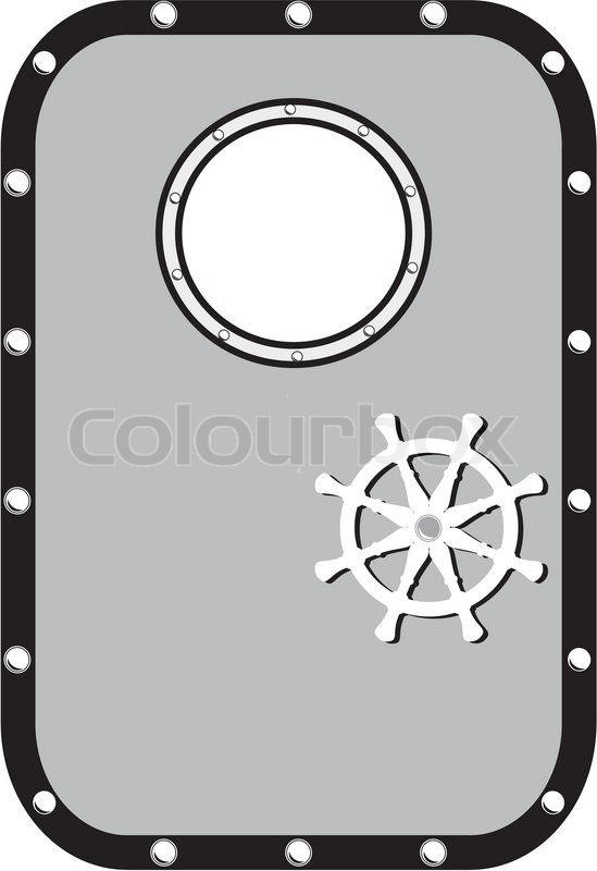 Ship door with window and lock wheel isolated on white background.