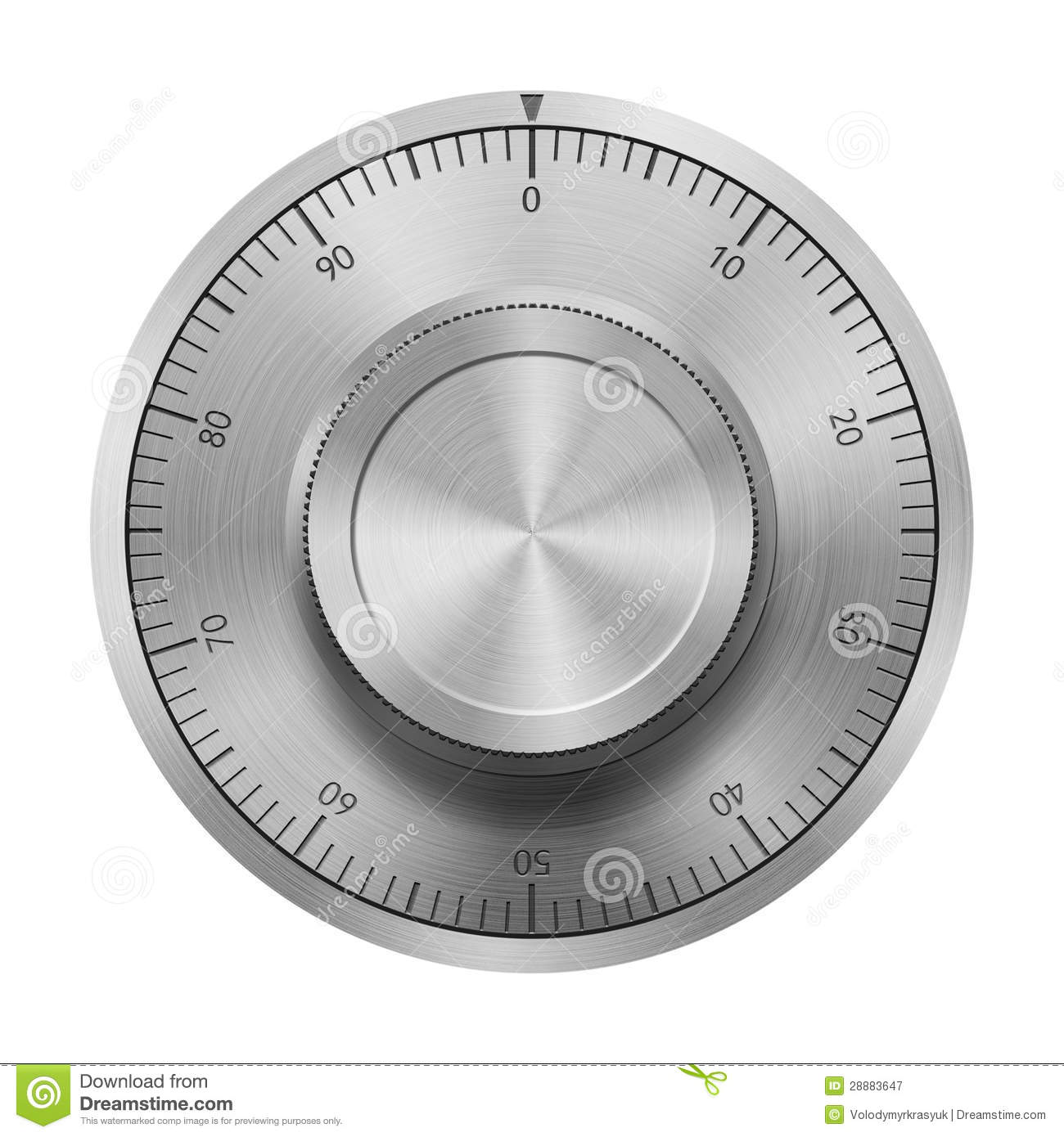 Realistic Safe Combination Lock Wheel Stock Photo.
