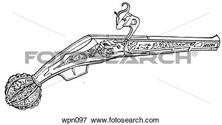 Stock Illustration of Wheel Lock Pistol, 16th century wpn097.