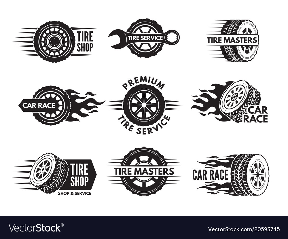 Race logos with pictures of different cars wheels.
