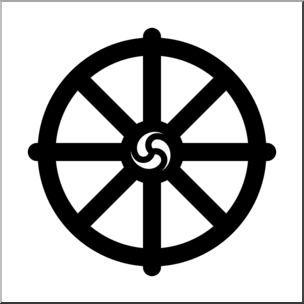Clip Art: Religious Symbols: Wheel of Dharma B&W I abcteach.