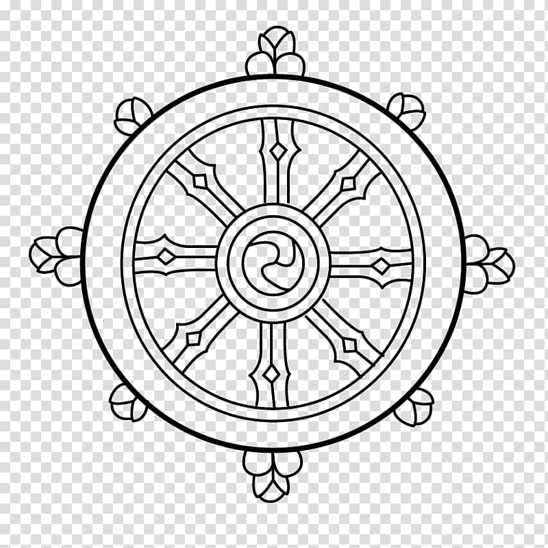 Brown ship\'s wheel illustration, Dharmachakra Buddhism Noble.