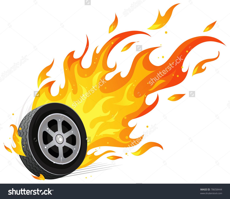 Burning Wheel Stock Vector 78658444.