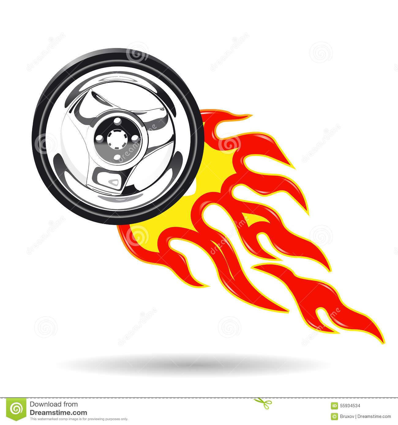 Wheel On Fire Stock Vector.