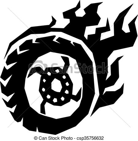 Vectors of Car and motorcycle fire wheel with flame vector..