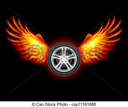 Vector of Wheel with Wings.