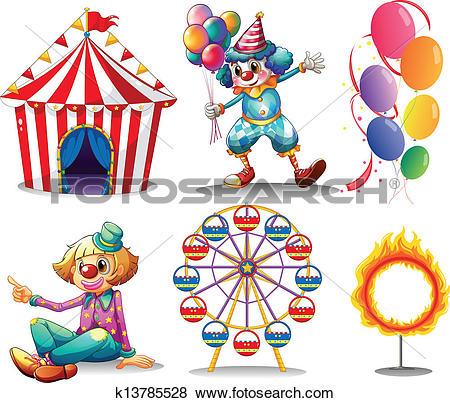 Clip Art of Illustration of a circus tent, clowns, ferris wheel.