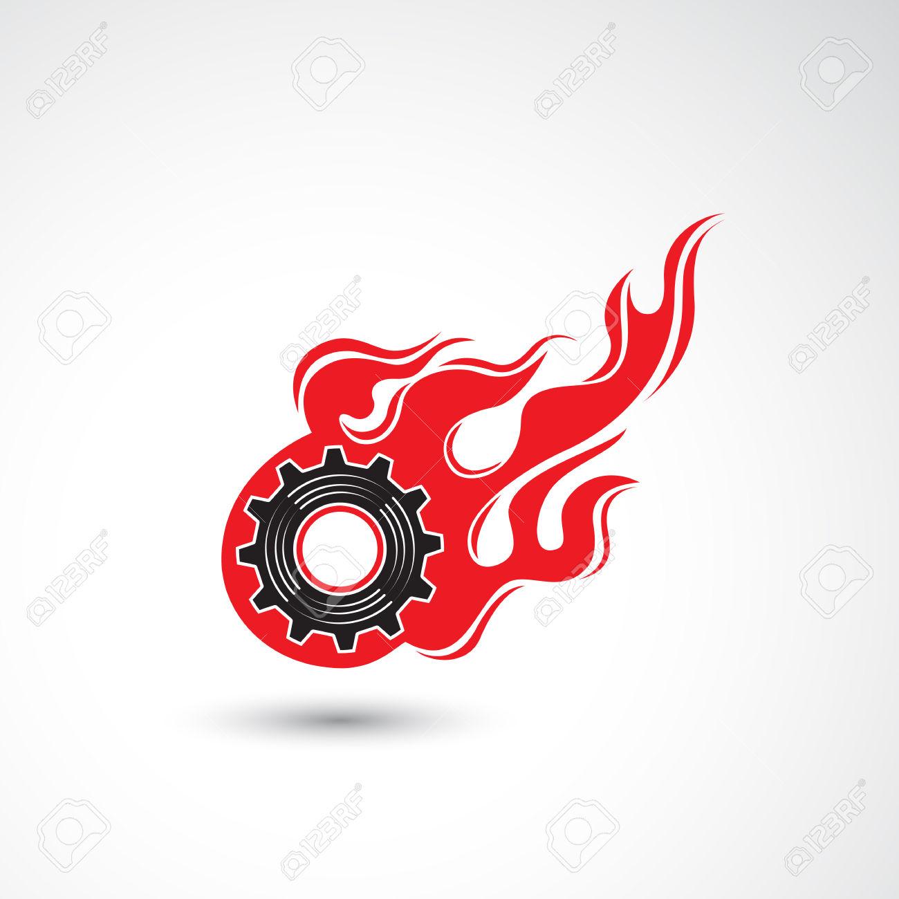 Wheel In Fire Flame Icon Abstract Logo Design Vector Template.