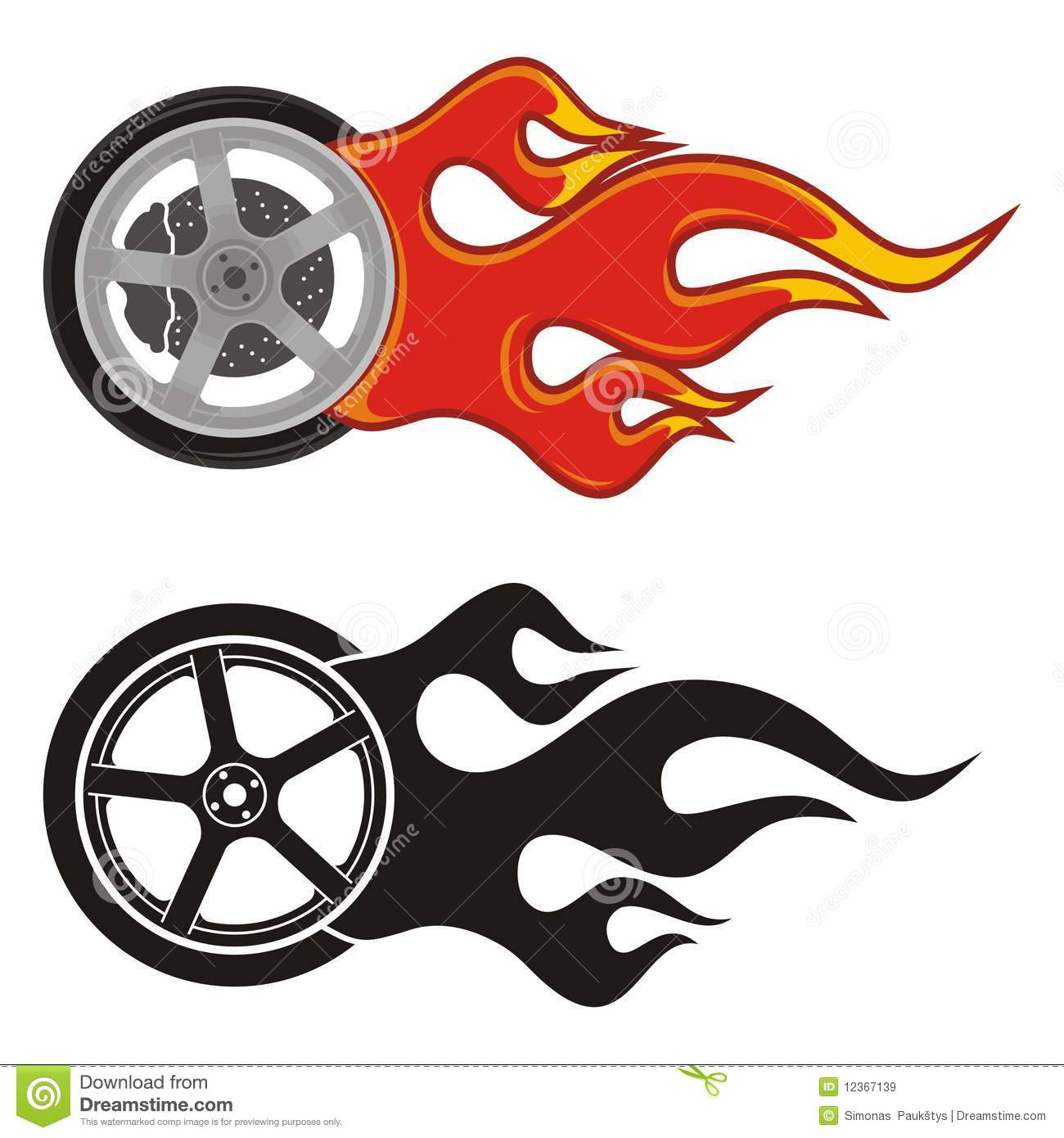 Wheel With Fire Royalty Free Stock Images.