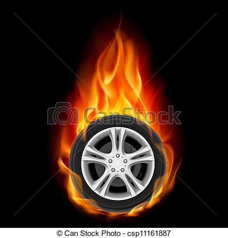 Wheel On Fire Clipart.