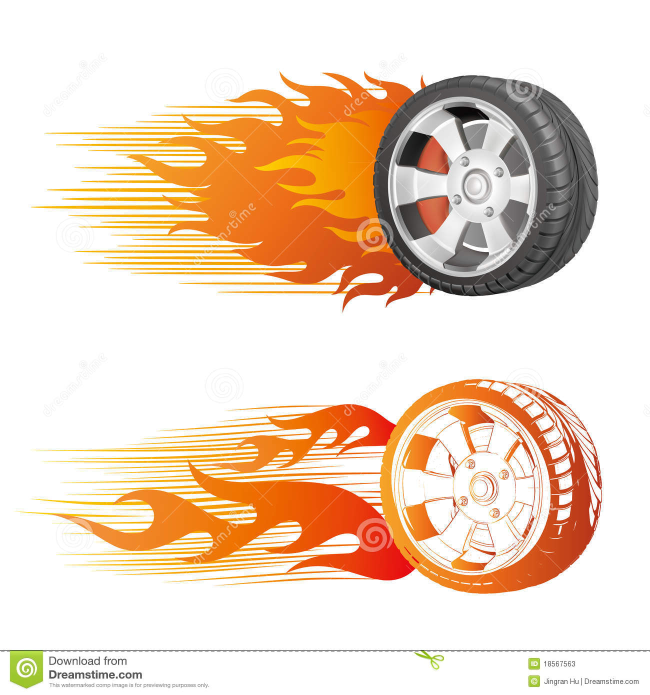 Flaming Tire Clipart.