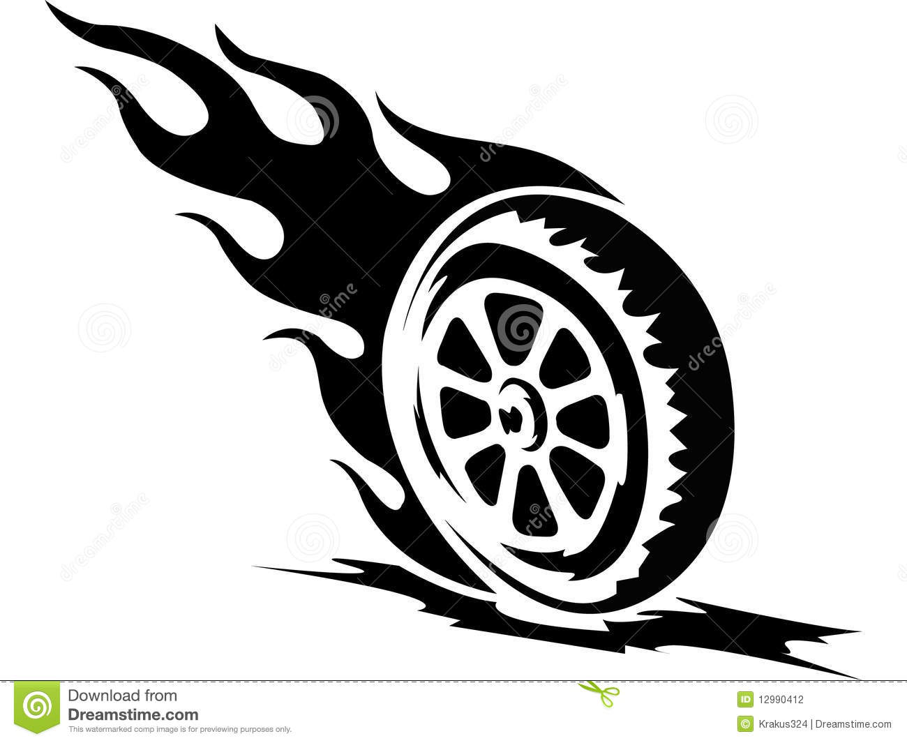 Tattoo Fire Wheel Stock Photography.