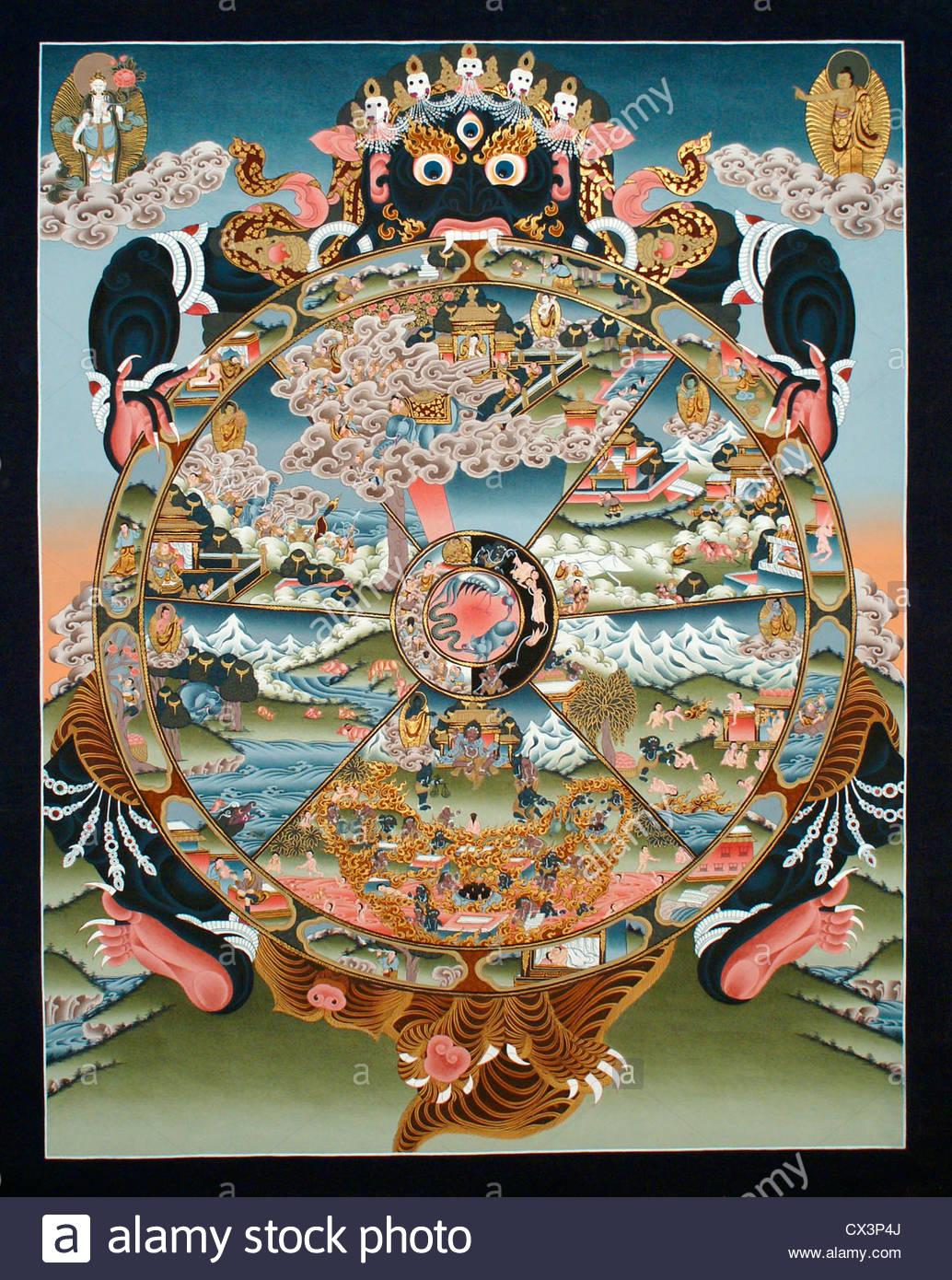 For Life Clip Art of Wheel of Samsara.
