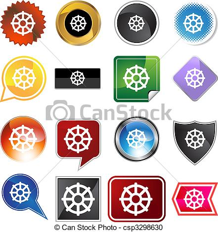 Vector Clipart of Buddhist Wheel Life Icon.