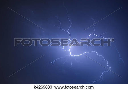 Stock Photography of Pin wheel spider lightning during a Florida.