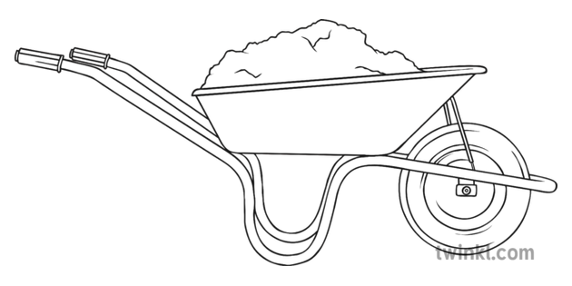 Wheelbarrow Black and White 2 Illustration.