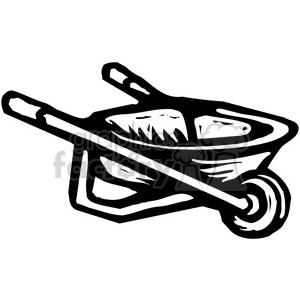 black and white wheelbarrow clipart. Royalty.