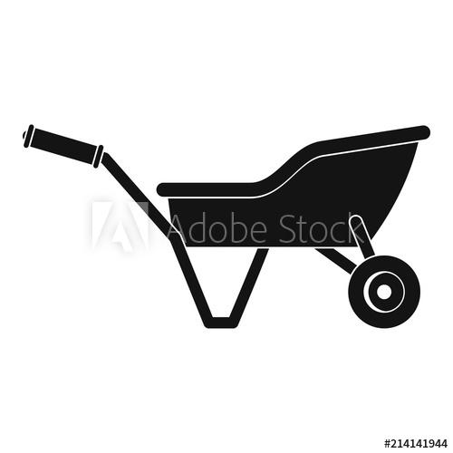 Garden wheelbarrow icon. Simple illustration of garden.